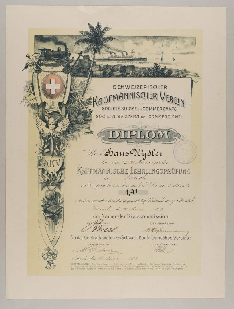 Diplôme pour l'examen d'apprentissage, 1912. © musée national suisse