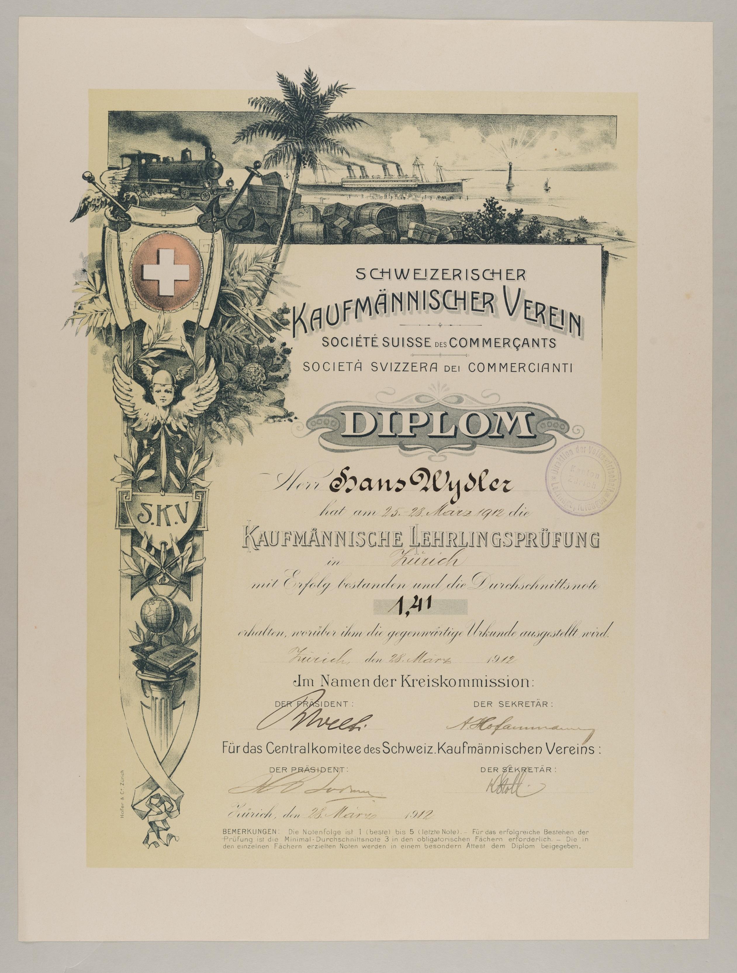 Diplom für Lehrlingsprüfung, 1912. © Schweizerisches Nationalmuseum